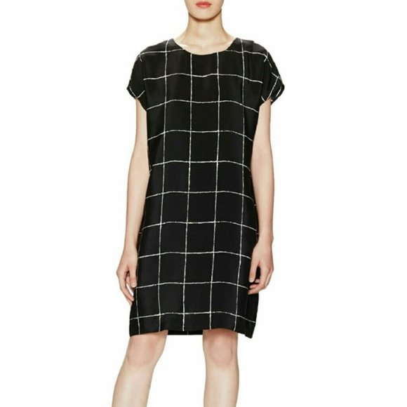 Vince silk windowpane print shift dress